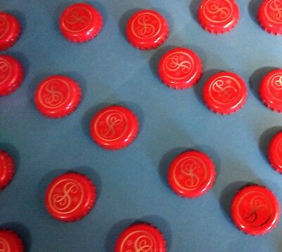 20 Beer Bottle Tops Caps Man Cave Bar Art Red Swirly Letter S Craft Project