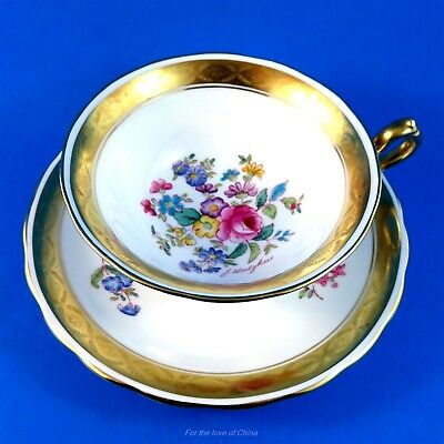 Handpainted Signed J Hodgkiss Gold & Floral Royal Chelsea Tea Cup and Saucer Set
