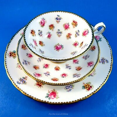 Roses Pansies & Forget Me Nots Royal Chelsea Tea Cup, Saucer & Plate Trio