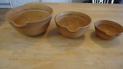 vintage pottery nesting bowl  set handmade lot