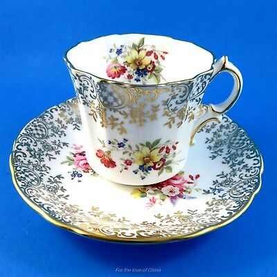 Pretty Floral and Gold Design Edge Hammersley Tea Cup and Saucer Set