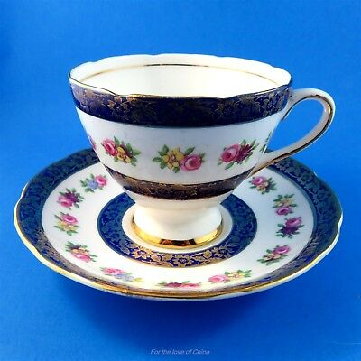 Cobalt Border with Floral Gladstone Tea Cup and Saucer Set