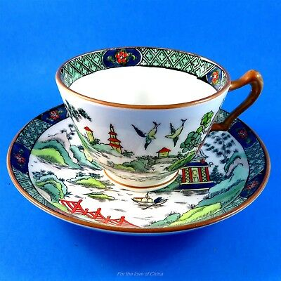Hand Painted Crown Staffordshire Ye Olde Willow Pagoda Tea Cup and Saucer Set