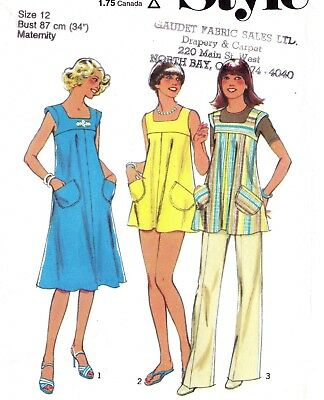Vtg 70s STYLE Pattern 1963 Summer Maternity Dress Tunic Top Pants Trousers Sz 12