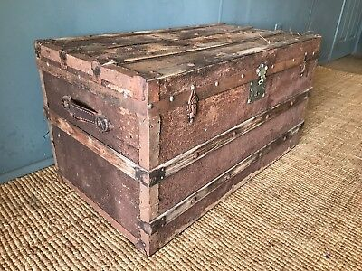 A Large Antique Steamer Travel Trunk Box Treasure Chest Coffee Table Edwardian