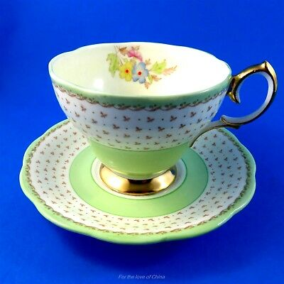 Hand Painted Light Green and Floral Bell Georgian Tea Cup and Saucer Set