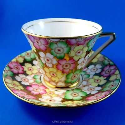 Hand Painted Floral Chintz on Gold Background Bell Tea Cup and Saucer Set