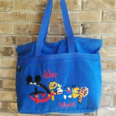 Walt Disney World Tote Bag Embroidered Blue Mickey Tigger Pooh Donald Pooh Goofy