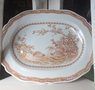 """Vintage Furnival Oval Platter Quail Brown Beautiful Shabby Chic 13.5"""""""