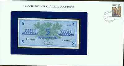 1963 Finland 5 Markkaa Note Pick#103  CRISP UNCIRCULATED ! In Sealed envelope