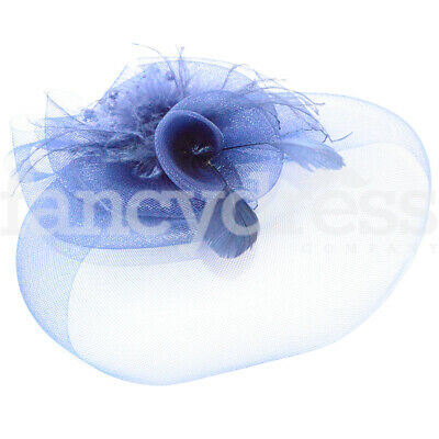 Blue Rose Fascinator Beads Feathers Feather Wedding Bridesmaid Ladies Day Ascot