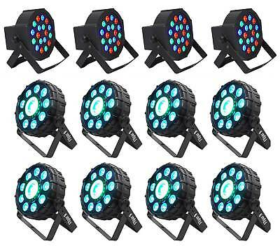 (8) Chauvet DJ FX Par 9 DMX  LED, SMD RGB+UV Strobe Par Lights+(4) Wash Lights