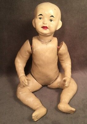 Super Rare HTF Five 5 Finger Ching Chinese Painted Cloth Paper Mache Doll