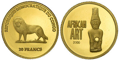 Congo - 20 Francs 2000, African Art, Gold 001