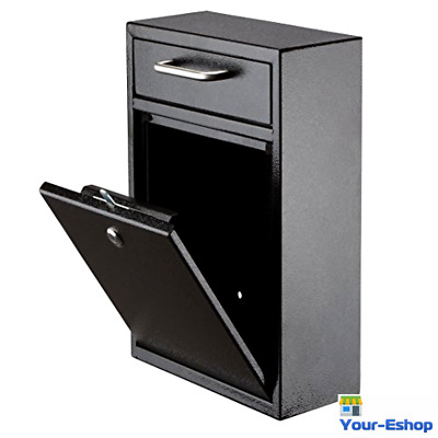 Locking Mail Box Wall Mount Night Drop Mailbox Money Security Outdoor Heavy Duty