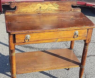 Antique Nightstand Circa 1910's Dovetailed Pine, Eagle Stenciled Backsplash!