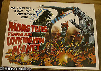 MONSTERS FROM AN UNKNOWN PLANET 1975 Original UK quad cinema poster GODZILLA