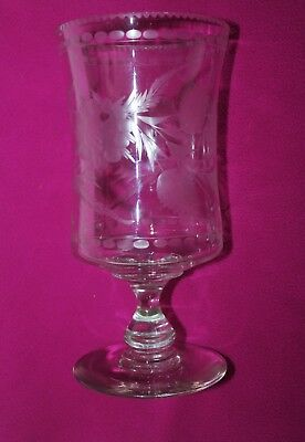 Victorian  Cut Glass Celery Vase With Cut Floral Decoration