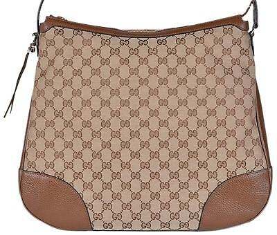 3b3cc87b221 NEW Gucci 449244 Large BREE Canvas Beige Brown Leather Purse Hobo Handbag