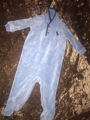 Ralph Lauren Velour Baby Grow 6m