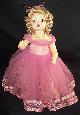 "Vintage Terri Lee 16"" Blonde Doll in Pink Net Taffeta Lace Formal Evening Gown"