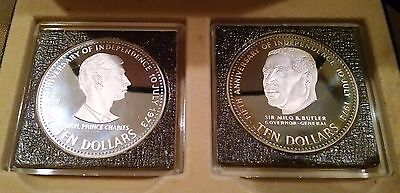 BAHAMAS 1978 5th ANNIVERSARY INDEPENDENCE 2-COIN SILVER PROOF SET IN CASE & COA