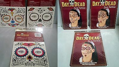 DAY OF THE DEAD Face Tattoo Stickers SKULL CANDY Halloween Fancy Dress MAKEUP