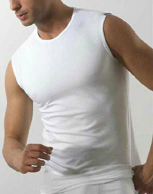Jersey Sleeveless Men's Crew-Neck Cotton Elastic All Sizes White Black