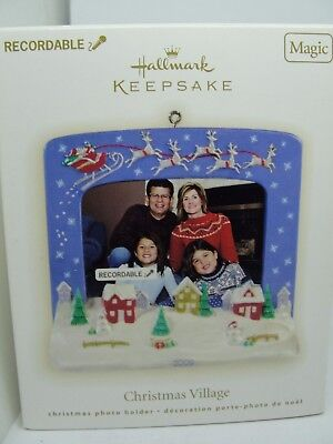 2009, Christmas Village Recordable Photo Holder  Hallmark Keepsake Ornament
