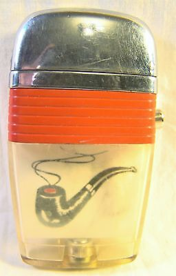 Nice Vintage Scripto Vu Lighter Smoking Pipe Red Band 2 Sided Sparking Well