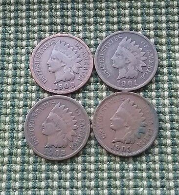US Indian Head Cents - 1900,01,02 & 03