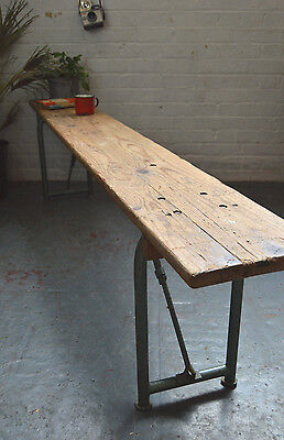 Vintage Mid Century French Wooden & Metal Folding School Bench Chair