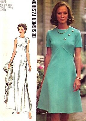 Vtg 70s UC SIMPLICITY Pattern 5911 High Waist Crossed Bodice Dress Sz 6 8 Petite