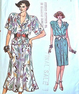 Vtg 80s UC VERY EASY VOGUE Pattern 9608 Dress or Top & Flared Skirt Sz 8 10 12