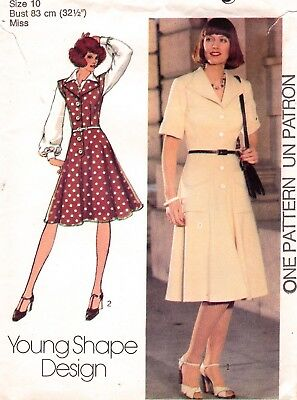 Vtg 70s UC STYLE Pattern 1229 Dress Pinafore Jumper Flared Skirt Sz 10 B 32.5""