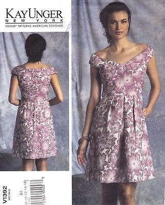 UNCUT Vogue Pattern 1392 Kay Unger American Designer Dress Sz 8 10 12 14 16 EASY