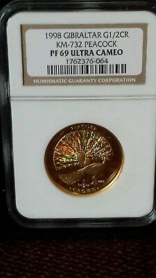 Rare 1998 Gibraltar 1/2 Oz Gold Peacock Gorgeous Hologram Beauty Pf69Uc Ngc Wow