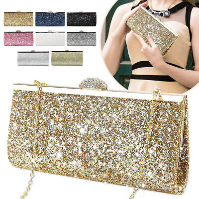 New Ladies Glitter Clutch Bag Sparkly Evening Bridal Party Prom Handbag Purse