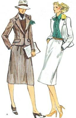 Vtg 70s UNCUT VOGUE Pattern #9832 2 Pc Suit Jacket Notched Lapels Skirt Size 12