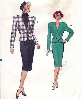 Vtg 80s UC Vogue Pattern 9658 2 Pc Suit Shaped Jacket Straight Skirt Sz 14 16 18
