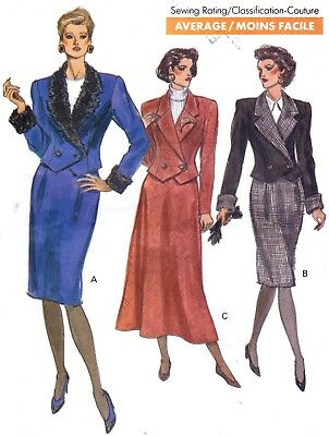 Vtg 80s UNCUT VOGUE Pattern 7620 2-Piece Suit Jacket Skirt 2 Styles  Sz 8 10 12