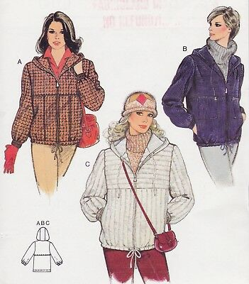 UC Burda Pattern 8790 Zippered Jacket Hood Drawstring Hem Sz 8 10 12 14 16 18