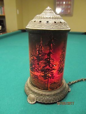 Antique Scene-In-Action Corp. Motion Lamp...Forest Fire w/Cabin