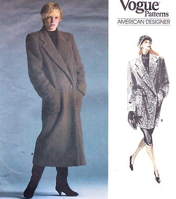 Vtg 80s UC Vogue Pattern #1987 Perry Ellis Double Breasted Coat 2 Lengths Sz 12