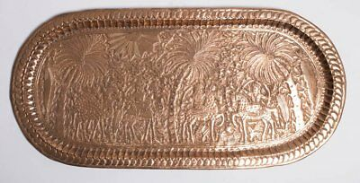 A Syrian Middle Eastern Oval Copper Tray Size 38 3/8 inches x 18 1/8 inches.