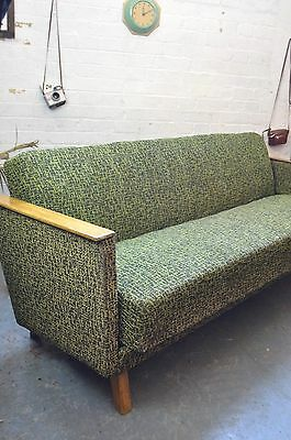 Vintage Mid Century Fabric Daybed Sofa Settee Lounge Cocktail Chair