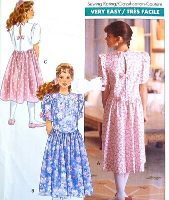 Vtg 90s UC BUTTERICK Pattern 4761 Classic Summer Dress Basque Waist Sz 7 8 10