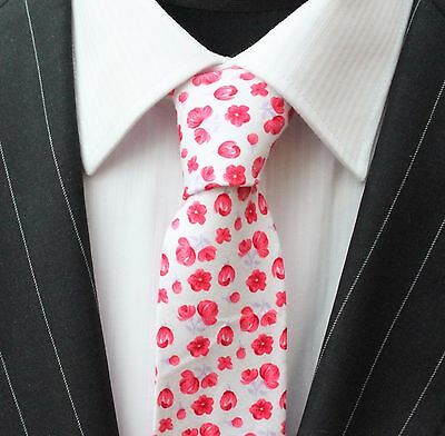 Tie Neck tie Slim White with Red & Lilac Poppy Quality Cotton T6124