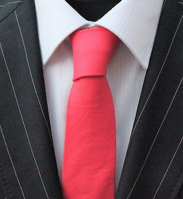 Tie Neck tie Slim Solid Coral Pink Quality Cotton T679