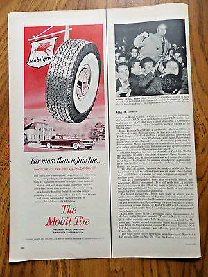 1956 Mobil Oil Gas Ad  The Mobil Tire backed by Mobil Care